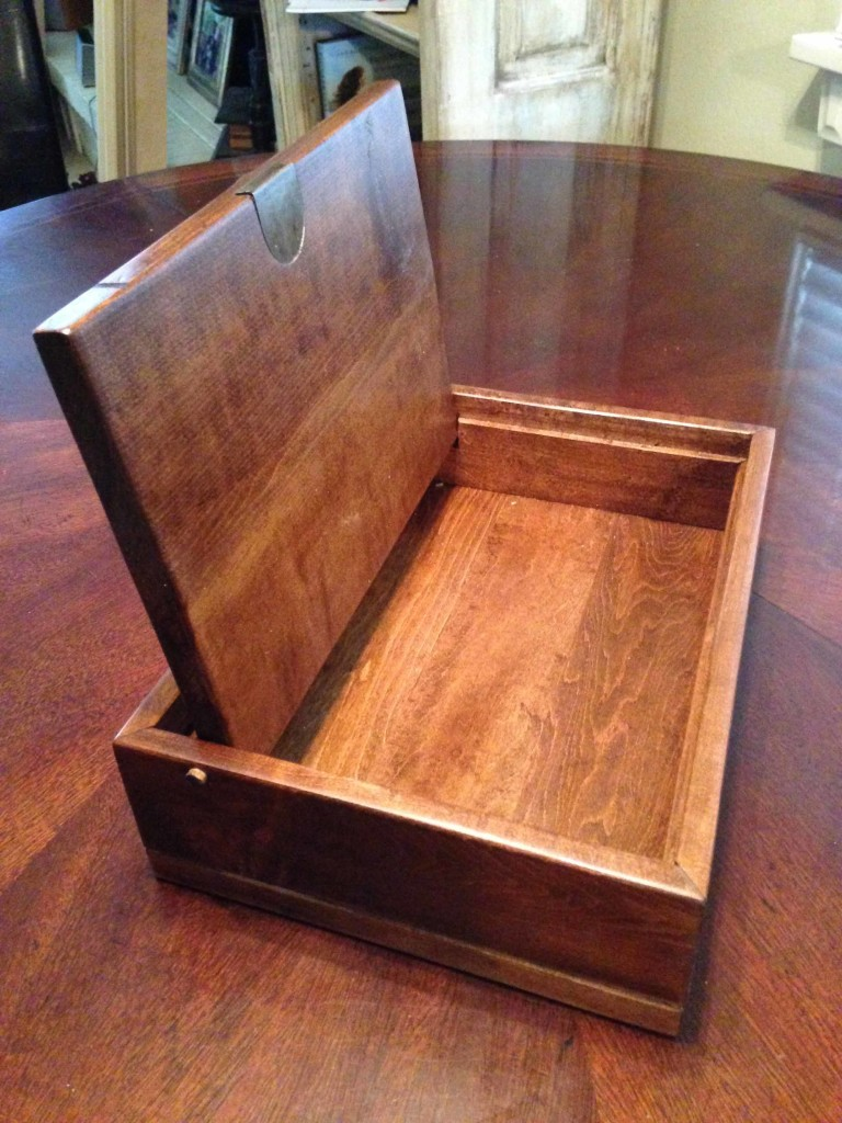 Finished Wooden Box With Lid Open