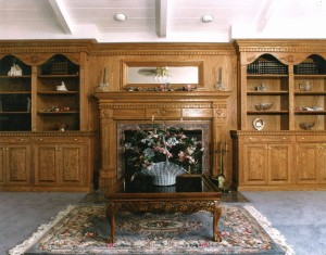 Webb Oak Fireplace and Bookshelves with Shell Carving