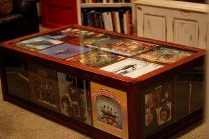 Record Album Coffee Table Made Out Of Cherry Wood