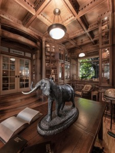 Doug Sr. Home Library With Elephant Sculpture